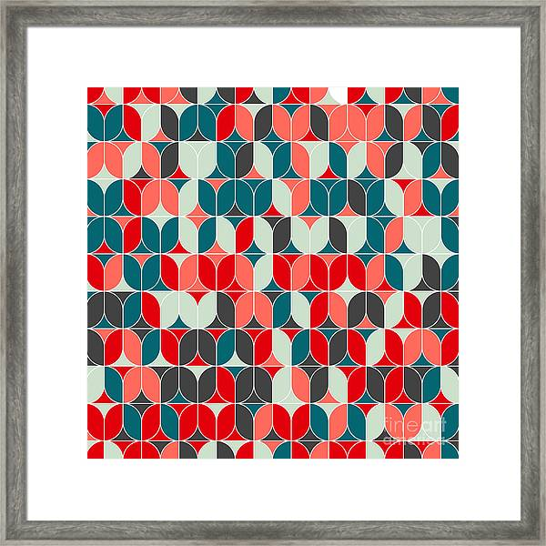 Vintage Seamless Geometrical Colorful Framed Print