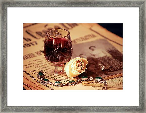 Vintage Still Life With Wine Framed Print