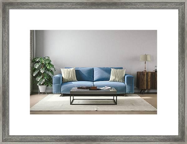 Vintage Style Living Room Framed Print by Imaginima