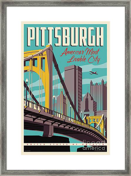 Pittsburgh Poster - Vintage Travel Bridges Framed Print