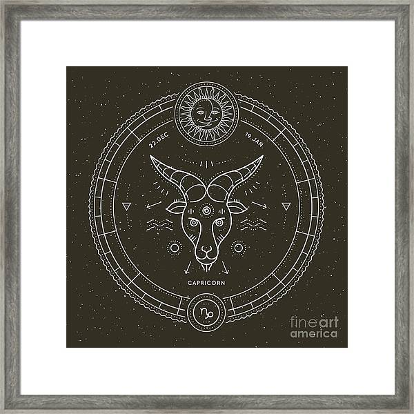 Vintage Thin Line Capricorn Zodiac Sign Framed Print