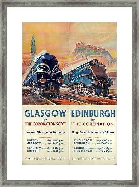 Vintage Train Travel - Glasgow And Edinburgh Framed Print