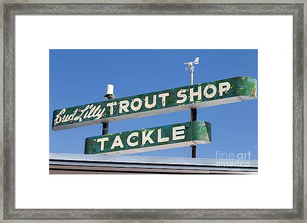 Framed Print featuring the photograph Vintage Trout Shop Sign West Yellowstone by Edward Fielding