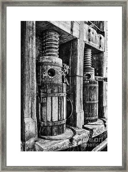 Vintage Wine Press Bw Framed Print