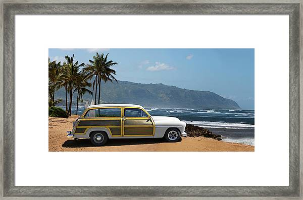 Vintage Woody On Hawaiian Beach Framed Print