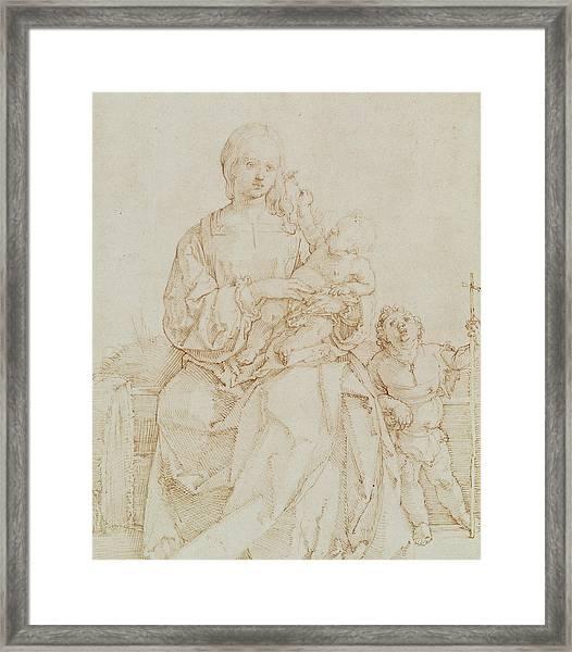 Virgin And Child With Infant St John Framed Print