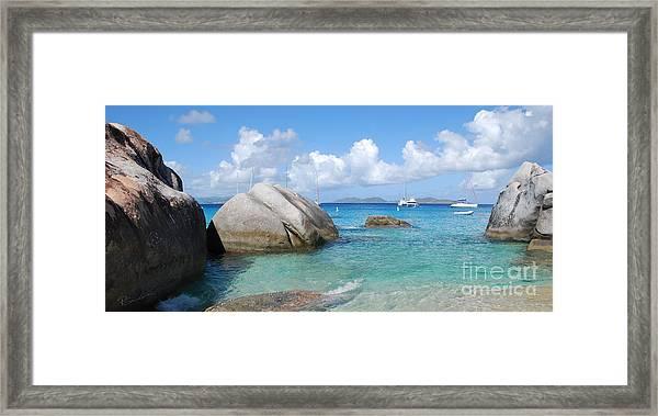 Virgin Islands The Baths With Boats Framed Print