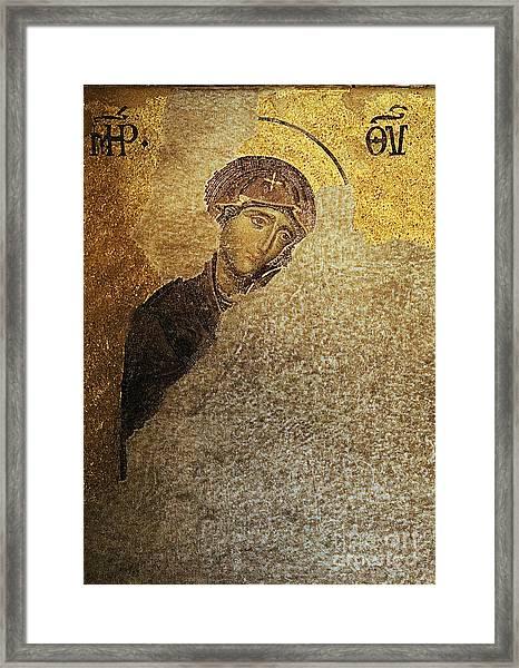 Virgin Mary-detail Of Deesis Mosaic  Hagia Sophia-day Of Judgement Framed Print