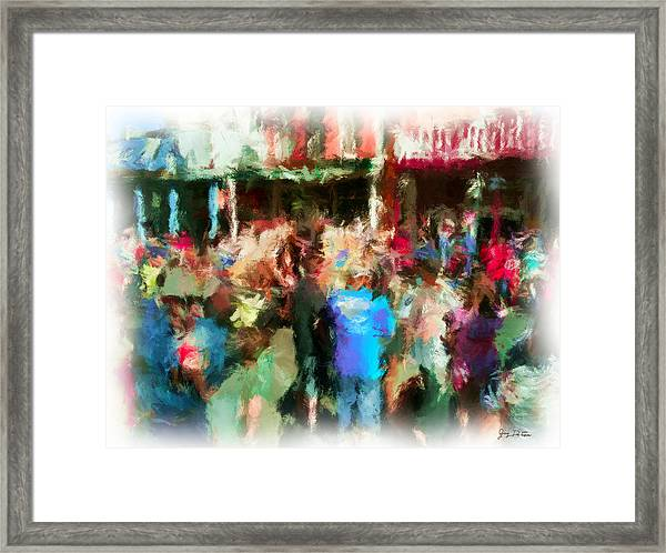 Virginia City Crowd Impressionisti Framed Print