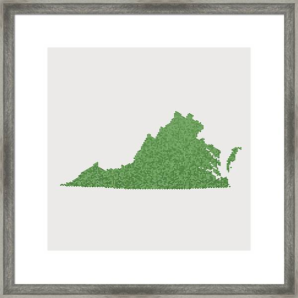 Virginia State Map Green Hexagon Pattern Framed Print by FrankRamspott