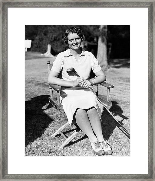 Virginia Van Wie Holding A Golf Club Framed Print by Acme