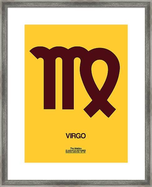 Virgo Zodiac Sign Brown Framed Print