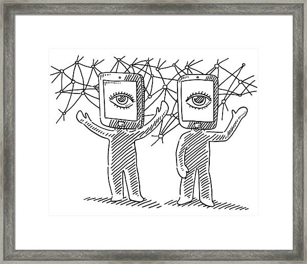 Virtual Reality Human Figures Concept Drawing Framed Print by FrankRamspott