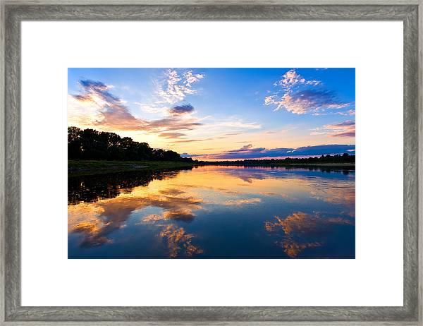 Vistula River Sunset Framed Print