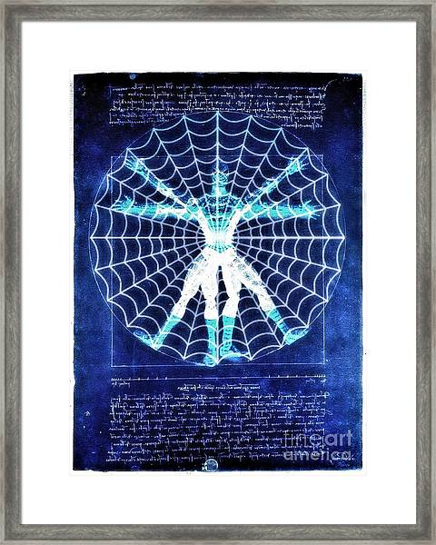 Vitruvian Spiderman White In The Sky Framed Print