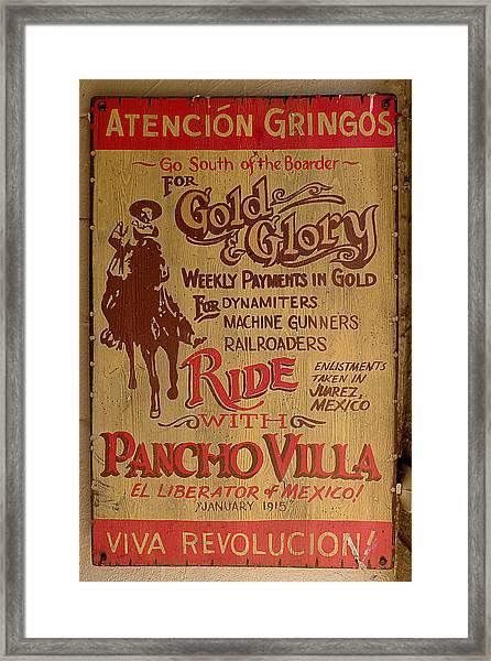Viva Revolucion - Pancho Villa Framed Print