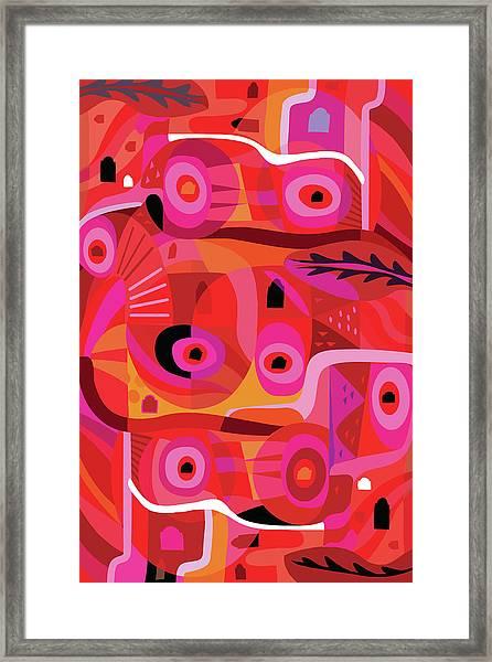 Vivid Red, Pink And Orange Modern Framed Print