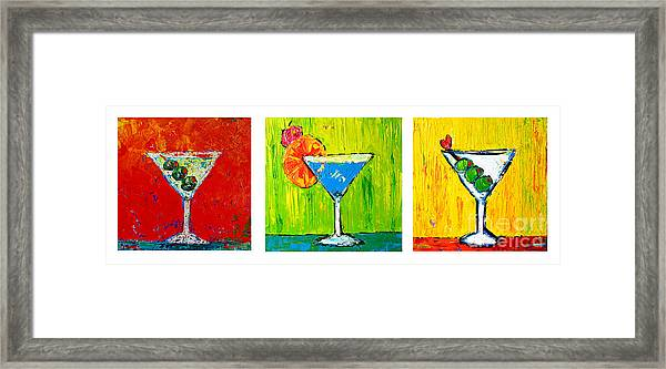 Vodka Martini Collection Bar Decor - Modern Art Framed Print