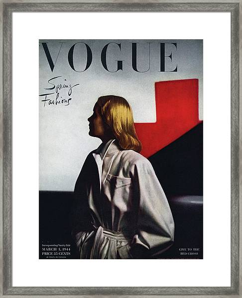 Vogue Cover Featuring A Model Wearing A White Framed Print
