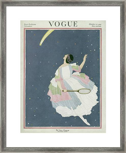 Vogue Cover Featuring A Woman Flying Framed Print