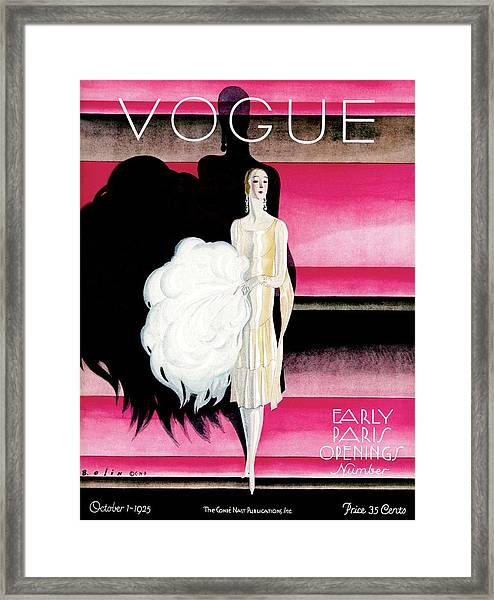 Vogue Cover Featuring A Woman In An Evening Dress Framed Print