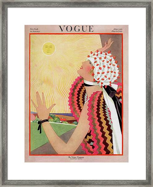 Vogue Cover Featuring A Woman Looking At The Sun Framed Print by George Wolfe Plank