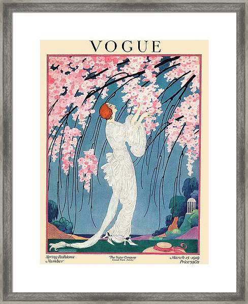 Vogue Cover Featuring A Woman Underneath A Cherry Framed Print