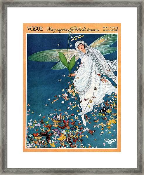 Vogue Cover Featuring A Woman Wearing A Bridal Framed Print