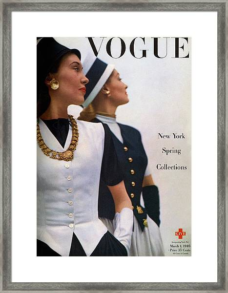 Vogue Cover Featuring Jean Sinclair Framed Print by John Rawlings