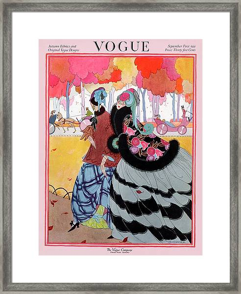 Vogue Cover Featuring Two Women At A Park Framed Print