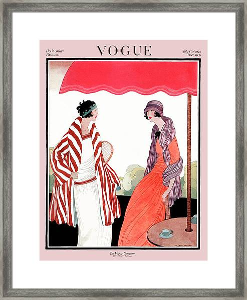 Vogue Cover Featuring Two Women Under A Patio Framed Print