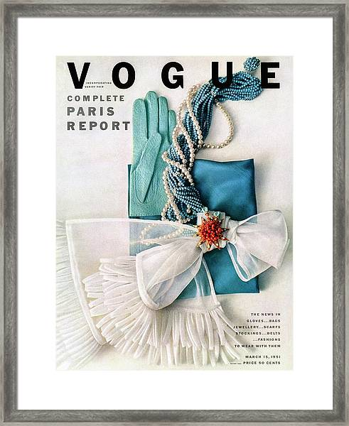 Vogue Cover Featuring Various Accessories Framed Print