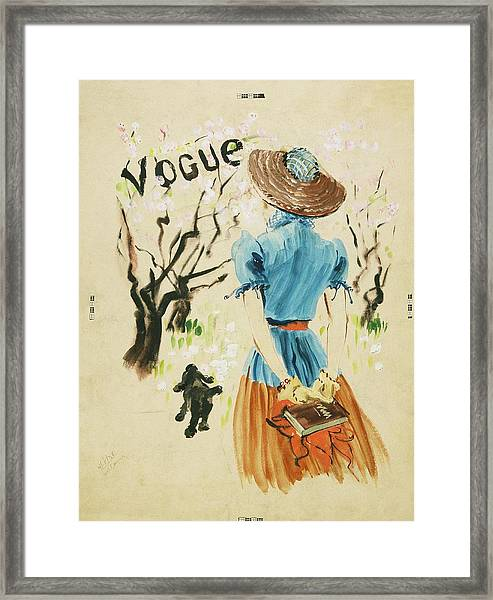 Vogue Cover Featuring Woman Walking Framed Print by Rene Bouet-Willaumez