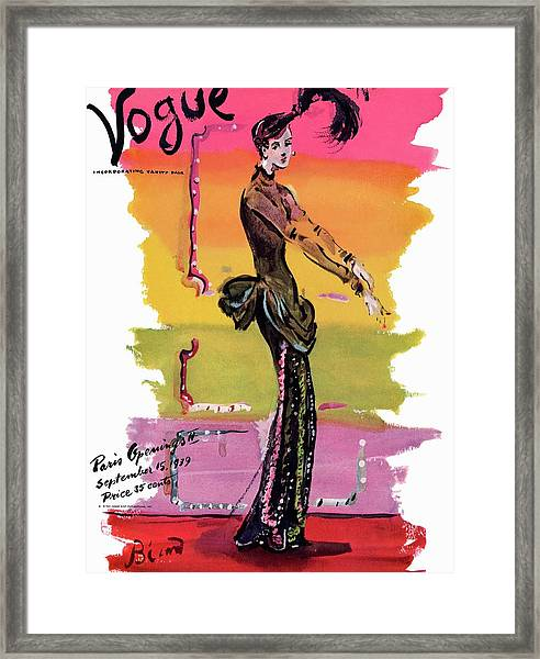 Vogue Cover Illustration Framed Print by Christian Berard