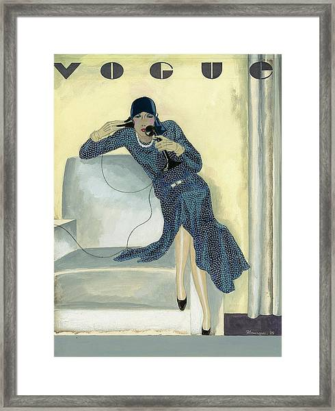 Vogue Cover Illustration Featuring Woman Talking Framed Print
