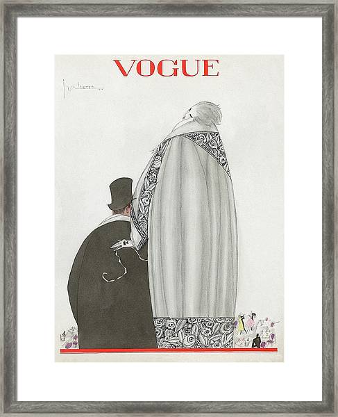 Vogue Cover Illustration Of A Couple Entering Framed Print