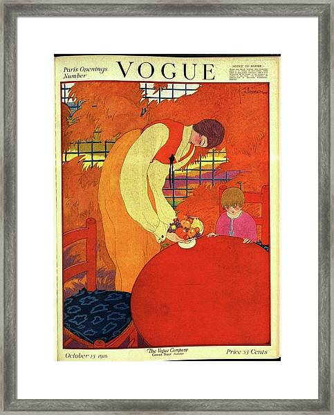Vogue Cover Illustration Of A Mother And Son Framed Print
