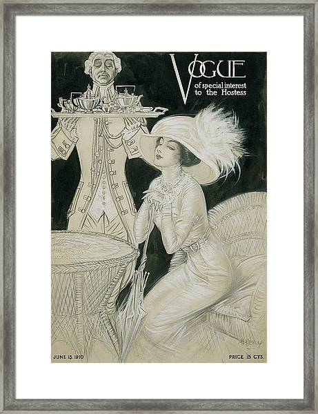 Vogue Cover Illustration Of A Valet Carrying Framed Print