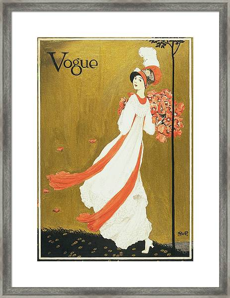 Vogue Cover Illustration Of A Woman Carrying Framed Print by George Wolfe Plank
