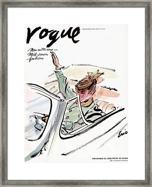 Vogue Cover Illustration Of A Woman Driving A Car Framed Print