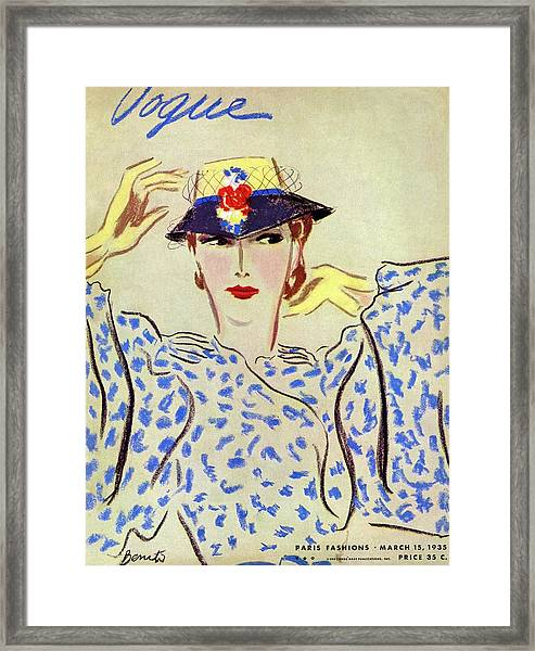 Vogue Cover Illustration Of A Woman Framed Print