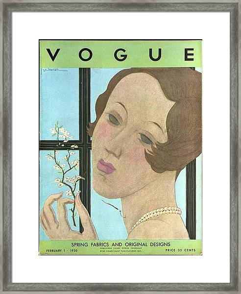 Vogue Cover Illustration Of A Woman Holding A Twig Framed Print
