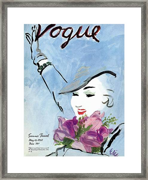 Vogue Cover Illustration Of A Woman Holding Framed Print