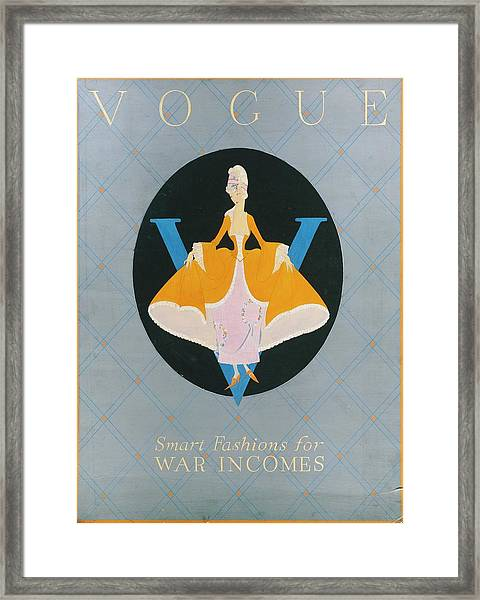 Vogue Cover Illustration Of A Woman In An Orange Framed Print
