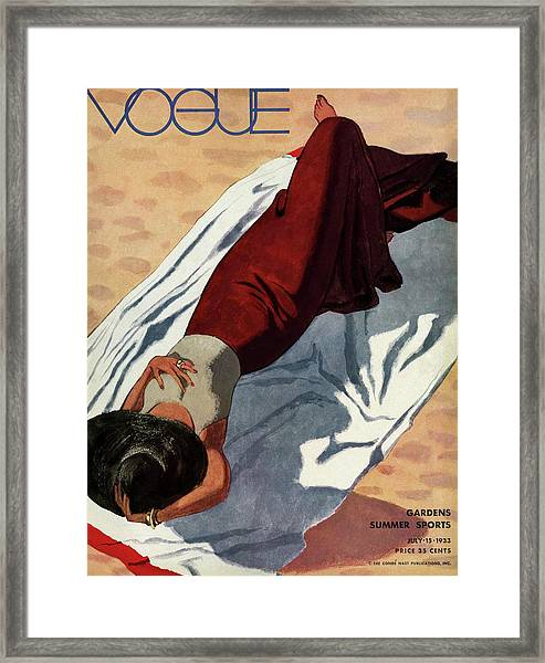 Vogue Cover Illustration Of A Woman Lying Framed Print by Pierre Mourgue