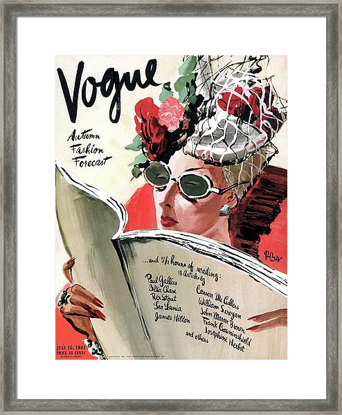 Vogue Cover Illustration Of A Woman Reading Framed Print
