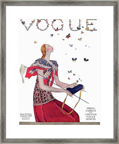 Vogue Cover Illustration Of A Woman Releasing Framed Print