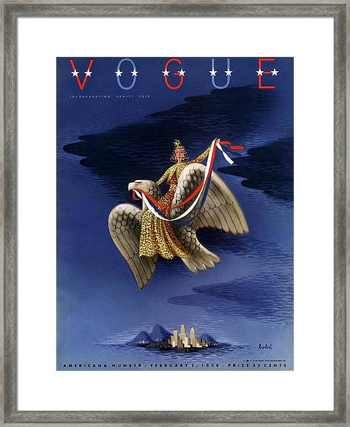Vogue Cover Of Woman Riding An American Eagle Framed Print by Victor Bobritsky