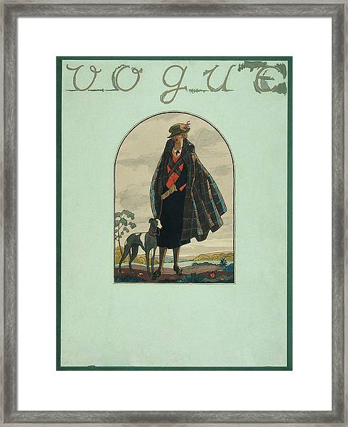Vogue Cover Illustration Of A Woman Standing Framed Print