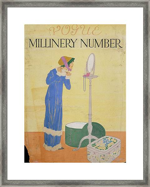 Vogue Cover Illustration Of A Woman Trying Framed Print by Helen Dryden